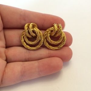 Vintage Gold tone pretzel earrings